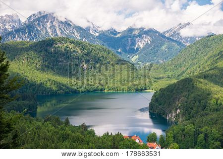 Beautiful View Of World-famous Hohenschwangau Castle, Fussen, Bavaria, Germany