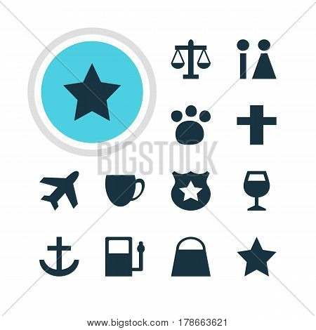 Vector Illustration Of 12 Check-In Icons. Editable Pack Of Cop, Pet Shop, Scales And Other Elements.