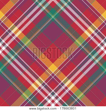 Diagonal red check plaid seamless fabric texture summer madras. Vector illustration.