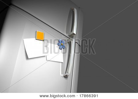 3D very realistic refrigerator door with two magnets and two white surfaces like photo o post-it papers