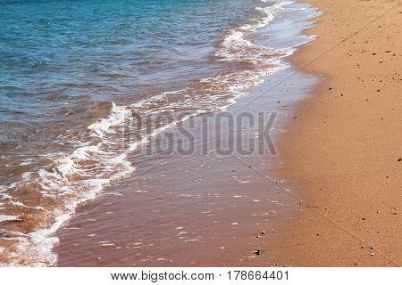 sand beach and the edge of sea