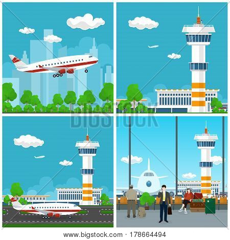 Airport Terminal, Airplane on the Runway at the Airport ,Waiting Room with People, Plane Flies to the East ,Travel and Tourism Concept ,Vector Illustration
