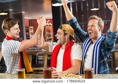 Smiling men cheering at a bar
