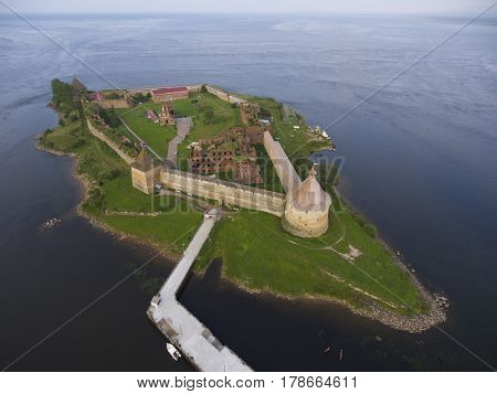 Aerial view on fortress Oreshek on island in Neva river near Shlisselburg town, Leningrad region, Russia