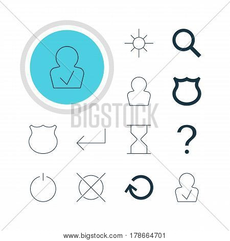 Vector Illustration Of 12 Interface Icons. Editable Pack Of Switch Off, Avatar, Conservation And Other Elements.