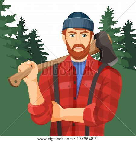 Axeman with wooden axe in green forest. Lumberman with element for woodworking or lumberjack. Woodcutter in hat and red shirt realistic vector illustration of man with metal ax on handle