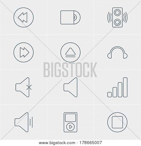 Vector Illustration Of 12 Music Icons. Editable Pack Of Rewind, Advanced, Earphone And Other Elements.