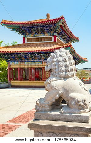 Architecture of Chinese temple in Thailand. The public domain or treasure of Buddhism no restrict in copy or use