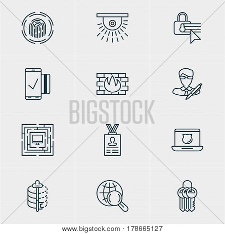 Vector Illustration Of 12 Privacy Icons. Editable Pack Of System Security, Key Collection, Data Security And Other Elements.