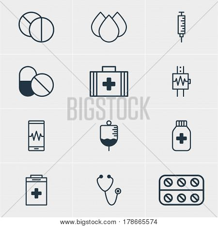 Vector Illustration Of 12 Medical Icons. Editable Pack Of Exigency, Medicine Jar, Round Tablet And Other Elements.