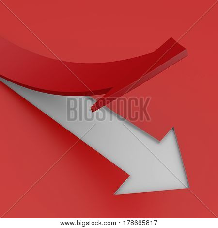 Growing Red Arrow Business Graph. 3D Illustration