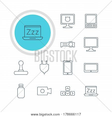 Vector Illustration Of 12 Notebook Icons. Editable Pack Of Smartphone, Game Controller, Flash Drive And Other Elements.