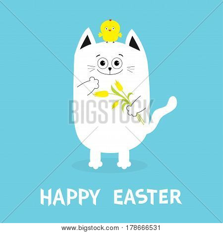 Happy Easter Greeting card. Cat holding yellow tulip flower and chicken bird set. Baby chick bird friends. Cute cartoon funny character. Blue background. Flat design. Vector