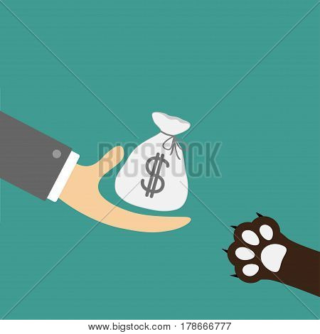 Hand giving money bag with dollar sign. Dog cat paw print taking gift. Helping hand concept. Adopt donate help love pet animal. Flat design style. Green background. Vector illustration.