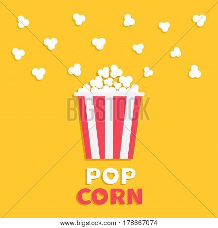 Popcorn popping. Red yellow strip box package. Cinema movie night icon in flat design style. Fast food. Yellow background with text. Vector illustration