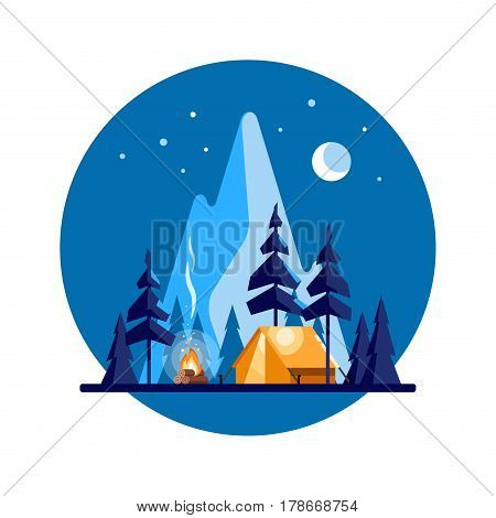 Summer camp. Night landscape with illuminated tent, forest and mountains in the background. Sport, camping, adventures in nature, vacation, and tourism vector illustration.