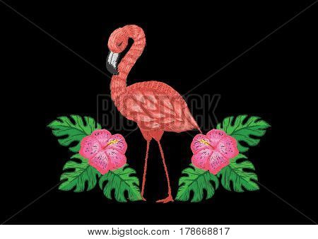 Beautiful flamingo and tropical flower in summer embroidery design. Stock Vector