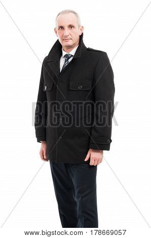 Middle Age Business Man Posing Wearing Overcoat
