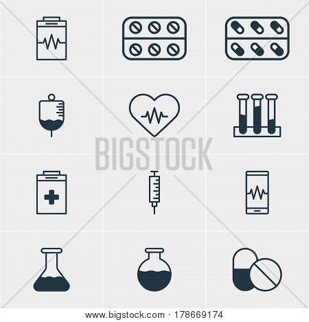 Vector Illustration Of 12 Medical Icons. Editable Pack Of Pills, Heart Rhythm, Treatment And Other Elements.