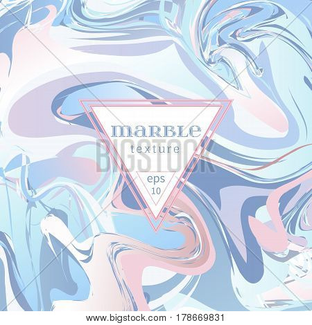 Vector marble texture. Mix of blue and pink paints. Abstract background. Colorful waves and vortexes. Cover design for invitation, banners, greeting card, etc. EPS10