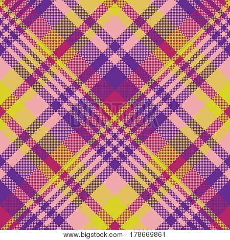 Yellow pink check madras seamless fabric texture. Vector illustration.