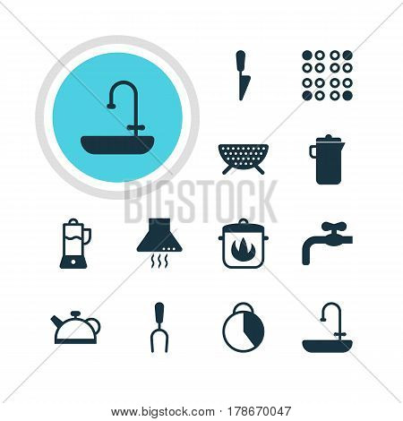 Vector Illustration Of 12 Restaurant Icons. Editable Pack Of Kitchen Dagger, Faucet, Fruit Squeezer And Other Elements.