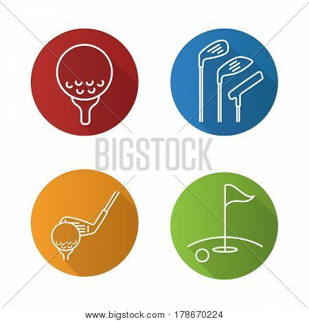 Golf flat linear long shadow icons set. Golf course, clubs, ball on tee. Vector line illustration