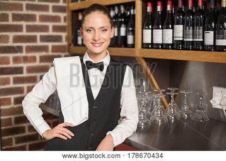 Beautiful barmaid smiling at camera with towel on shoulder