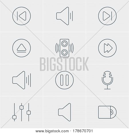 Vector Illustration Of 12 Music Icons. Editable Pack Of Speaker, Rewind, Preceding And Other Elements.