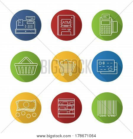 Supermarket flat linear long shadow icons set. Pos terminal, cash register, bank atm machine, credit card, shopping basket and cart, shop shelves, barcode, cash. Vector line illustration