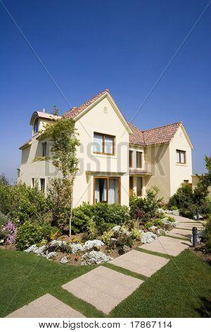 Beautiful yellow house in suburbs