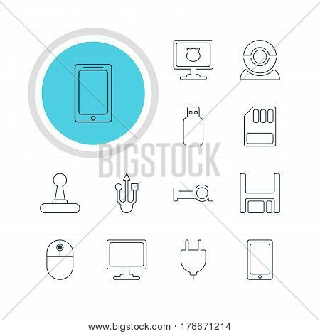 Vector Illustration Of 12 Computer Icons. Editable Pack Of Flash Drive, Smartphone, Web Camera And Other Elements.