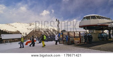 Pejo, Italy - March 7, 2017:ski Lift Of The Ski Station On 7 Mar