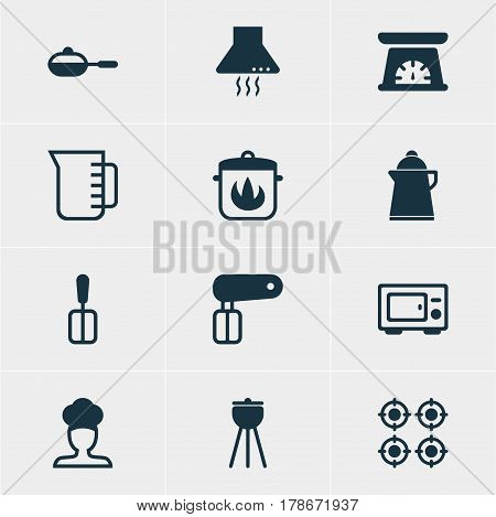Vector Illustration Of 12 Restaurant Icons. Editable Pack Of Extractor Appliance, Tea, Stewpot And Other Elements.