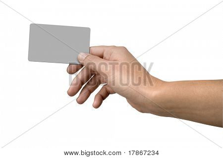 Isolated hand holding credit card clipping paths included