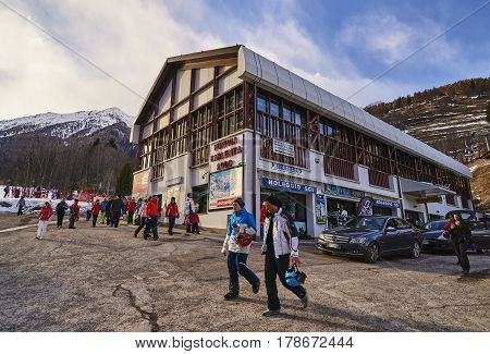 Pejo Fonti, Italy - March 7, 2017: Tourists In The Center Of The