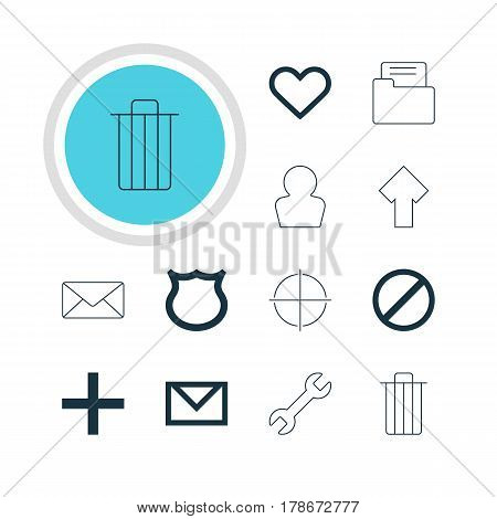 Vector Illustration Of 12 User Icons. Editable Pack Of Plus, Access Denied, Wrench And Other Elements.