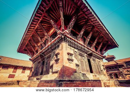 Bhaktapur, Nepal - October 8, 2011: Wide Angle Image Of A Temple In Bhaktapur (image Taken Before Th