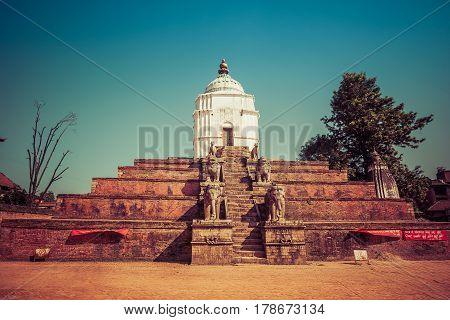 Bhaktapur, Nepal - October 8, 2011: Fasidega Temple - White Temple Dedicated To Shiva (image Taken B