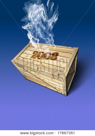 Wooden container with year 2008 burnt over it