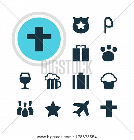 Vector Illustration Of 12 Map Icons. Editable Pack Of Wineglass, Skittles, Bookmark And Other Elements.