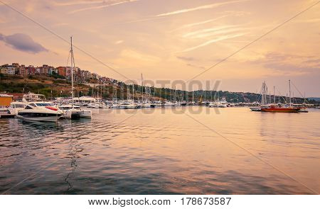 panoramic evening view of the seaport at sunset in sozopol, bulgaria