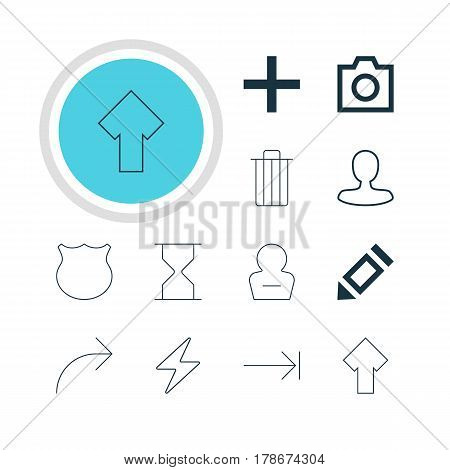 Vector Illustration Of 12 Member Icons. Editable Pack Of Snapshot, Share, Upward And Other Elements.