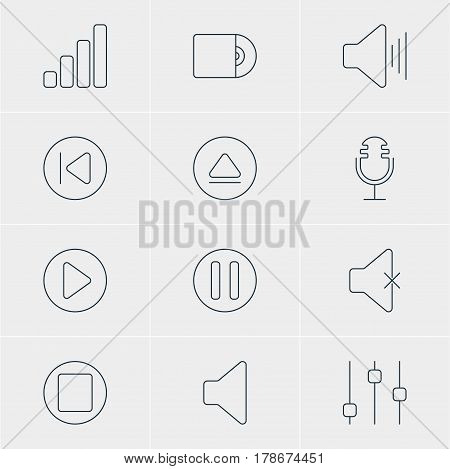 Vector Illustration Of 12 Music Icons. Editable Pack Of Stabilizer, Lag, Compact Disk And Other Elements.
