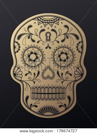 Sugar Skull day of the dead golden illustration.