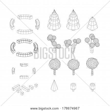 Isometric vector tree set. Landscape constructor kit. Different trees for make design. Low poly spruce, apple, decorative shrub, linden, maple, pine and firtree. Black and white wireframe illustration.