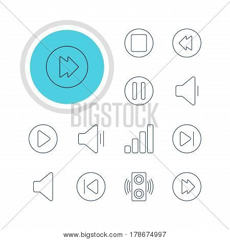 Vector Illustration Of 12 Melody Icons. Editable Pack Of Subsequent, Decrease Sound, Lag And Other Elements.
