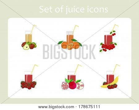 Set of juice painting icons stock vecktor illustration