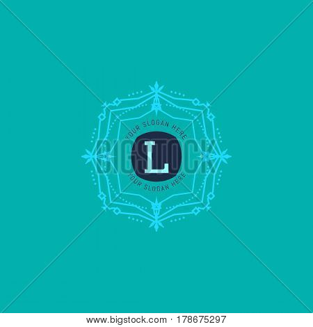 The letter L made in modern line style vector. Luxury elegant frame ornament and ethnic tribal elements. Example designs for Cafe, Hotel, Jewelry, Fashion, Restaurant