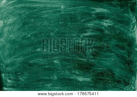 Overhead view of blackboard with smudged chalk.